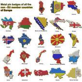 Krajach europejskich spoza Ue metalowe odznaki — Zdjęcie stockowe