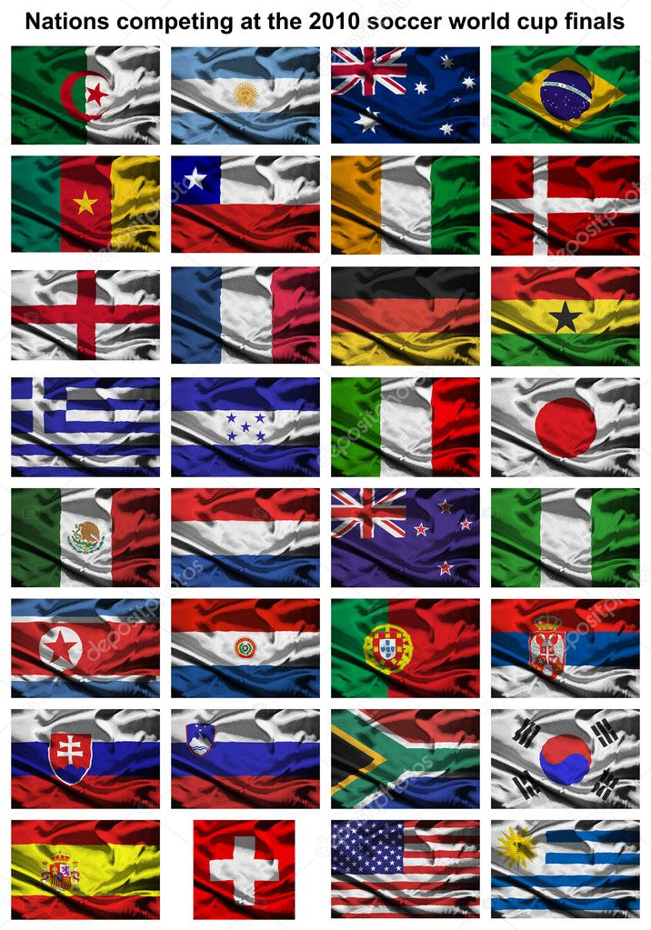 All of the nations competing at the 2010 FIFA world cup finals in south africa — Stock Photo #2251942
