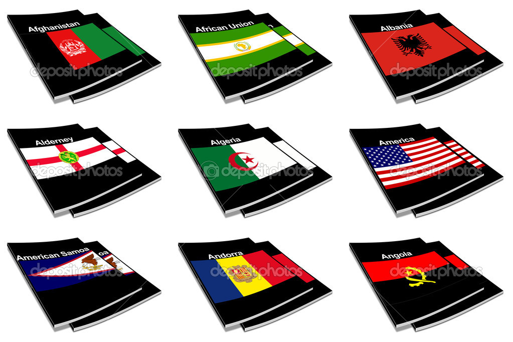Part of the collection series of flags of the world printed on a paperback books  Stock Photo #2252003