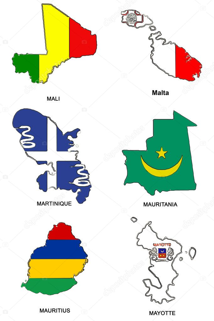 A collection of map shaped flags of the world in the style of doodle-like sketches  Stock Photo #2252223