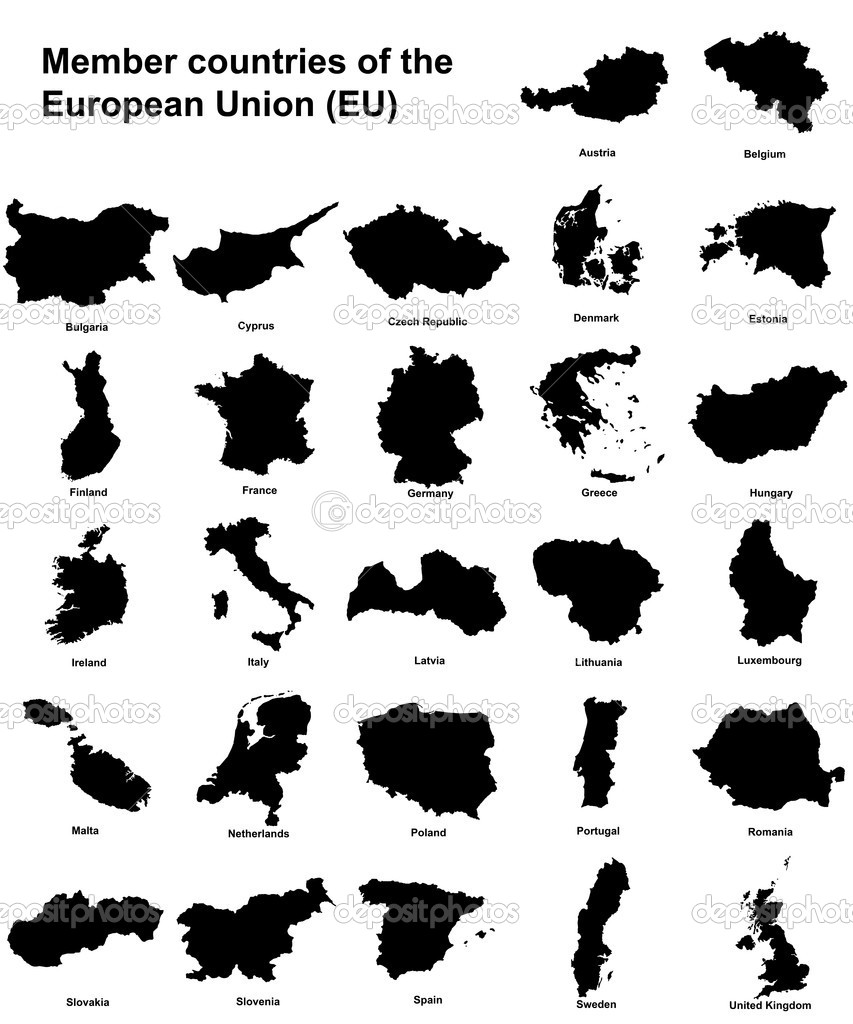 Silhouettes of all the member countries of the european union  Stock Photo #2252552