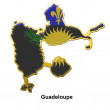 Stock Photo: Guadeloupe metal pin badge
