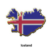 Iceland metal pin badge — 图库照片