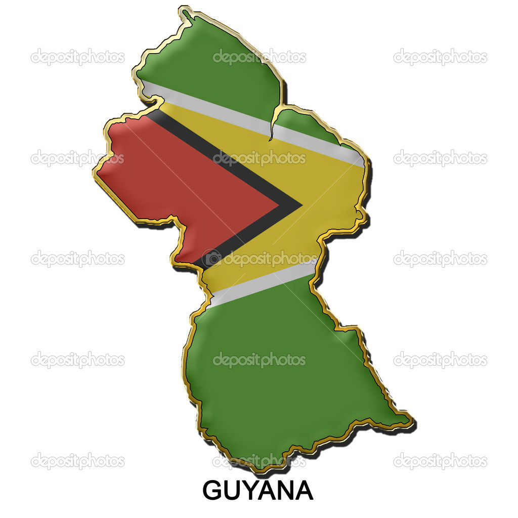 Map shaped flag of Guyana in the style of a metal pin badge — Stock Photo #2299162