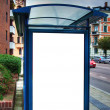 Bus stop with blank bilboard HDR 02 — Stock Photo