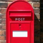 Red post box — Stock Photo
