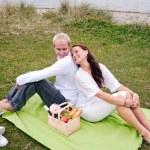 Back to back on romantic picnic — Stock Photo