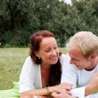 Couple enjoying romantic picnic — Stock Photo