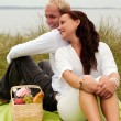 Looking over shoulder on romantic picnic — Stock Photo #2492235