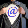 Superhero email — Stock Photo