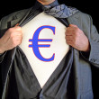 Stock Photo: Superhero euro dollar