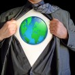 Stock Photo: Superhero world map
