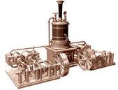 Vier zylinder-dampfmaschine und kessel — Stockfoto