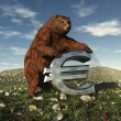 A bear bearing down on a Euro sign — Stock Photo #2215512