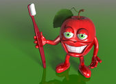 Apple with a big grin — Stock Photo