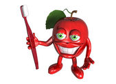 Healthy apple with clean teeth — ストック写真