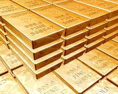 Stapels van goudstaven — Stockfoto