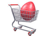 Stylized shopping cart with Giant Egg — Stock Photo