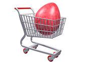 Stylized shopping cart with Giant Egg — Stock Photo