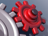 Brightly colored interlocking gears — Foto Stock