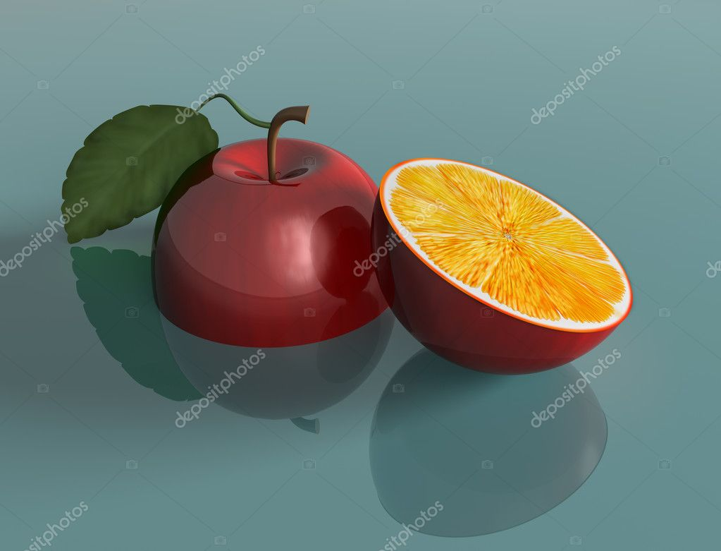 Illustration of a genetically engineered apple with the juice of an orange  Stock Photo #2213264