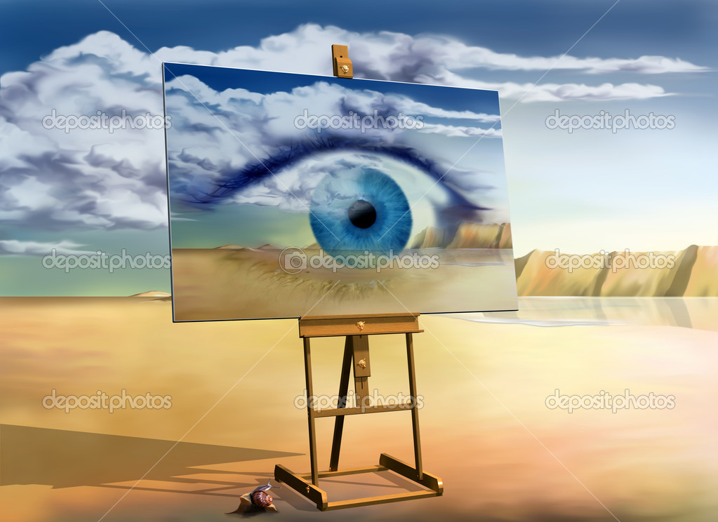 Original surreal landscape with a painting of a surreal landscape — Stock Photo #2213494