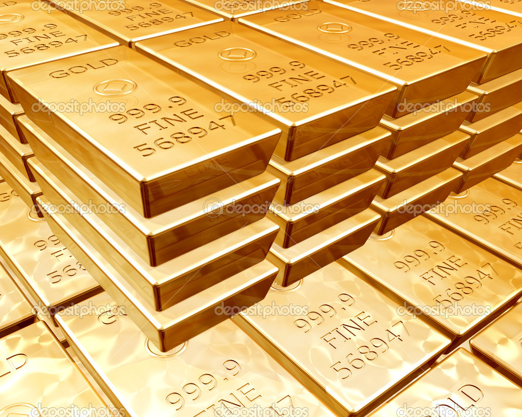 Stacks of pure gold bars on piles of bullion — Stockfoto #2215648