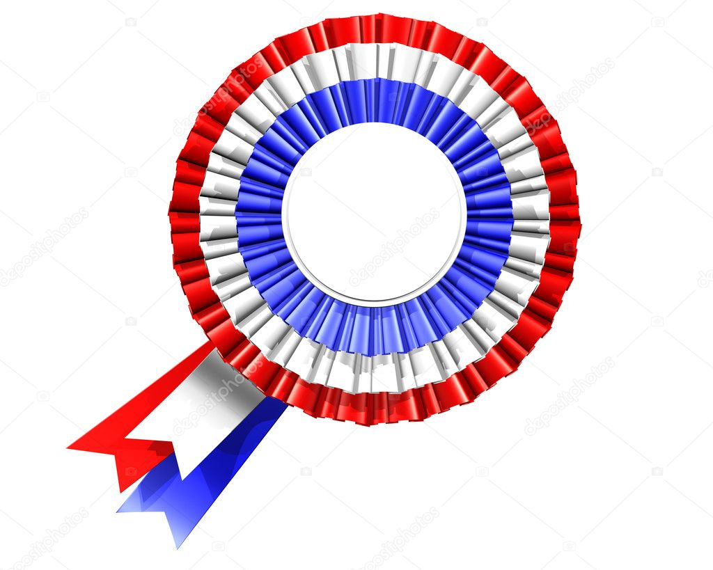 Isolated illustration of a blank rosette in red, white and blue  — Stock Photo #2217296