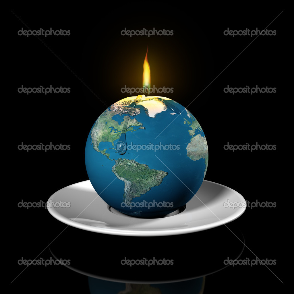 Illustration of the earth as a candle illustrating the finite properties of the earth resources — Stock Photo #2218041