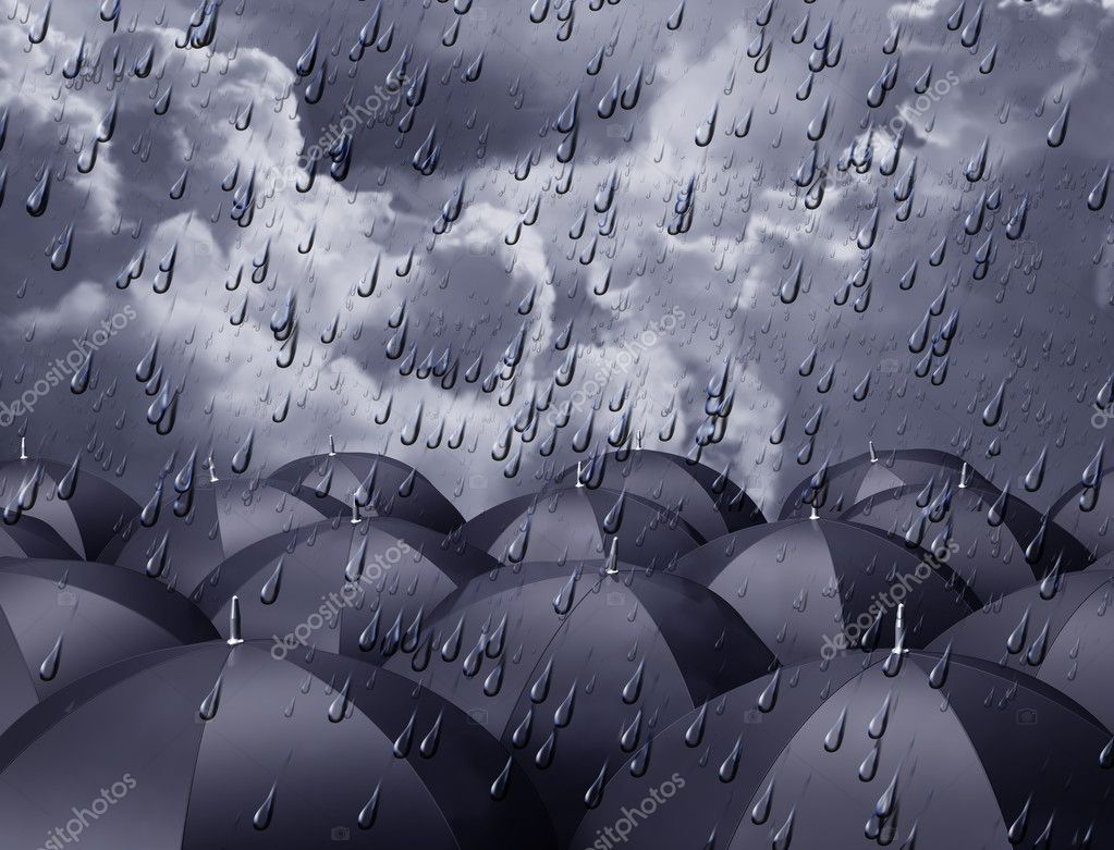 Stylized illustration of umbrellas beneath a rainy sky  Stock Photo #2219795