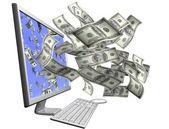 Zarabianie pieniędzy z twojego komputera — Zdjęcie stockowe