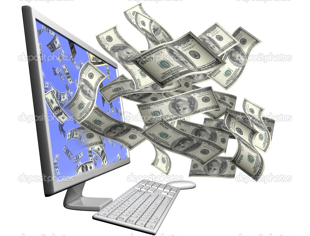 Isolated desktop computer throwing out hundred dollar bills through the screen — Stock Photo #2220843