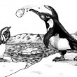 Penguin Snowball Fight — Stockfoto
