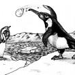 Penguin Snowball Fight — 图库照片