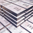 Stock Photo: Stacks of platinum bars