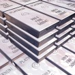 Stacks of platinum bars — Stock Photo