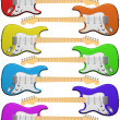 Royalty-Free Stock Photo: Rainbow colored electric guitars