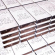 Stacks of silver bars - Stock Photo