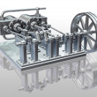 Twin cylinder steam engine — Stock Photo