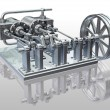 Twin cylinder steam engine - Stock Photo