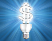 Illuminated money saving energy bulb — Stock Photo