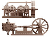 Steam engine front and side — Stock Photo