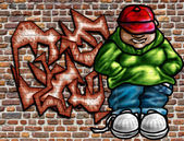 Graffiti art on wall — Stock Photo