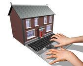 Hus-köp på internet — Stockfoto