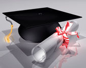 Mortar Board and Diploma — Stock Photo