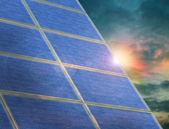 Solar panel array at twilight — Stock Photo
