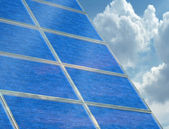 Solar panel array on a cloudy day — Stock Photo