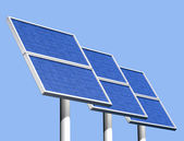 Solar panels on a clear sunny day — Stock Photo