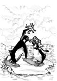Penguin Kiss — 图库照片