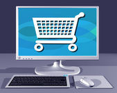 Computer showing Internet shopping — Stock Photo